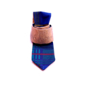 Cork tie with blue/green checked lining