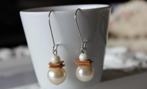 Cork earrings with pearls