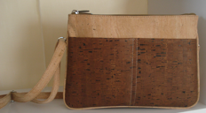 Double bag for woman in natural and brown cork